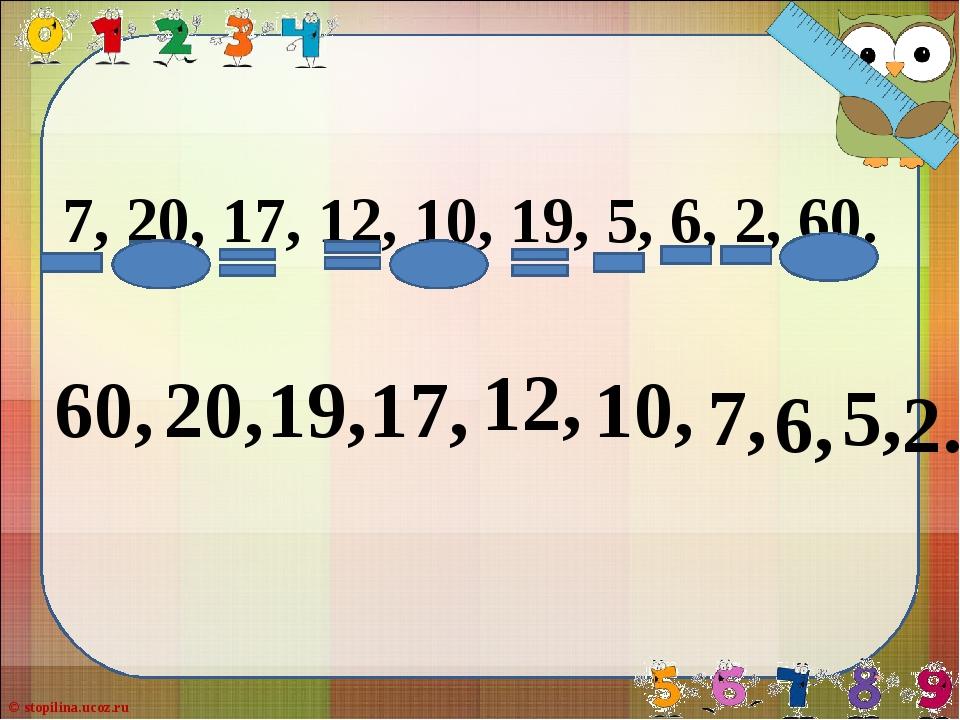 7, 20, 17, 12, 10, 19, 5, 6, 2, 60. 60, 20, 19, 17, 12, 7, 6, 5, 2. 10, © sto...