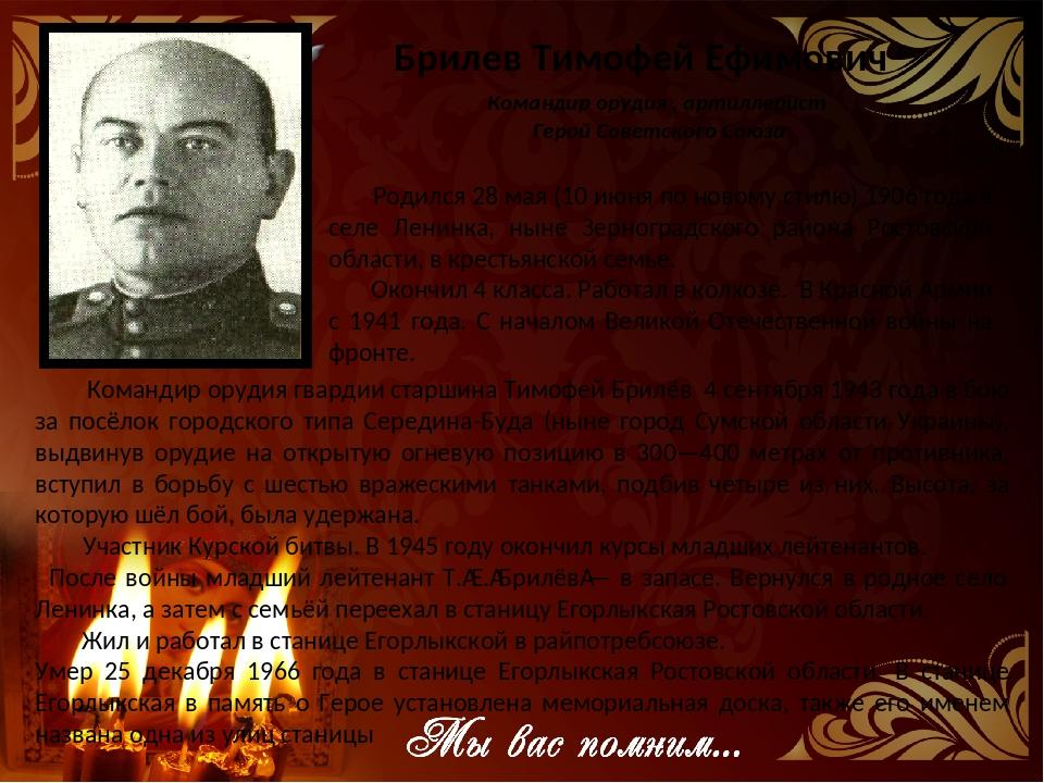 Брилев Тимофей Ефимович Командир орудия , артиллерист Геpой Советского Союза...