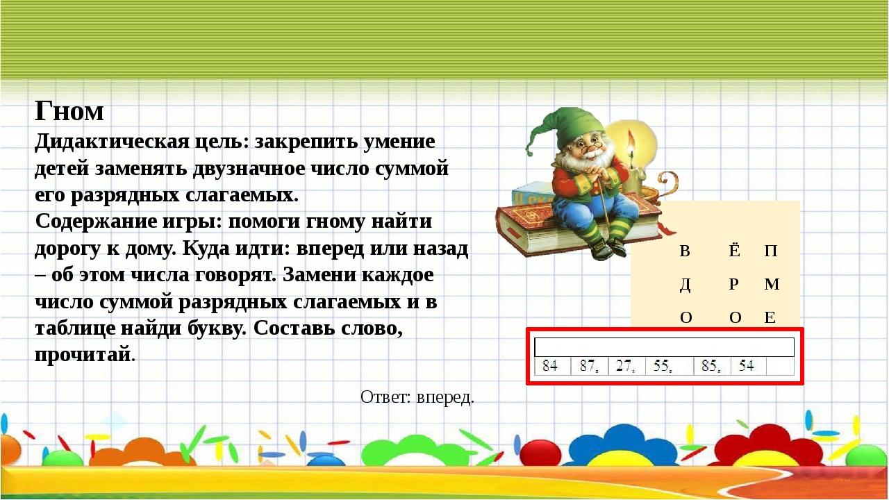 Гном Дидактическая цель:закрепить умение детей заменять двузначное число сум...