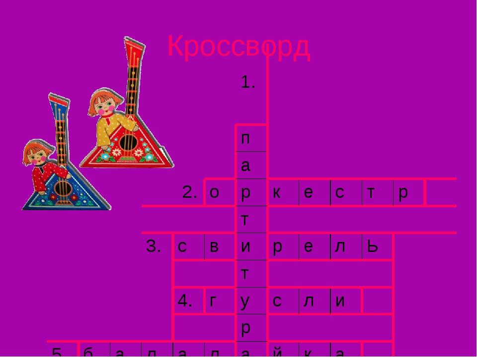 Кроссворд 1. п а 2. о р к е с т р т 3. с в и р е л Ь т 4. г у с л и р 5. б а...