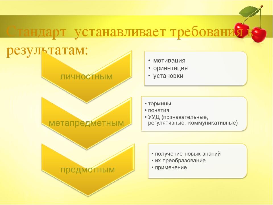 Стандарт устанавливает требования к результатам: