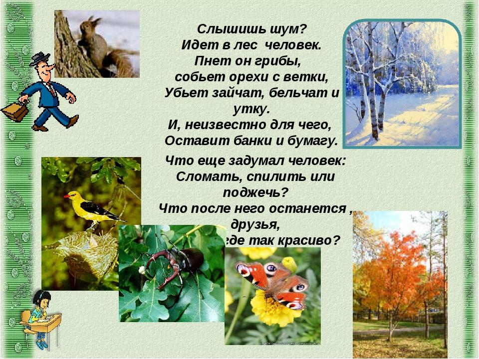 Слышишь шум? Идет в лес человек. Пнет он грибы, собьет орехи с ветки, Убьет з...