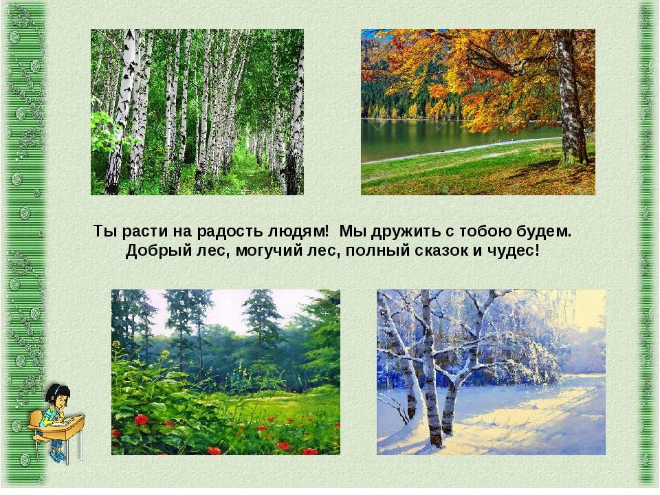 Ты расти на радость людям! Мы дружить с тобою будем. Добрый лес, могучий лес,...