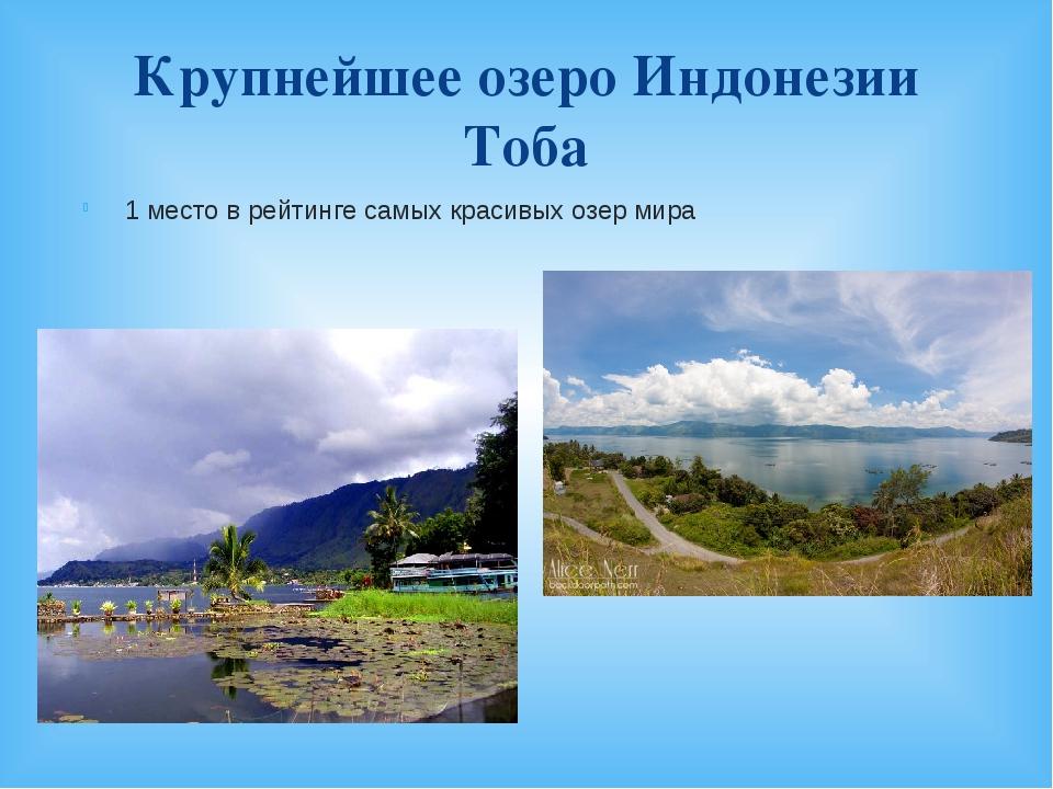 Крупнейшее озеро Индонезии Тоба 1 место в рейтинге самых красивых озер мира