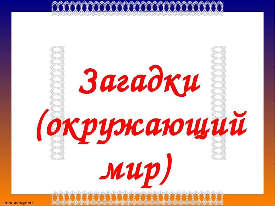 Загадки (окружающий мир) FokinaLida.75@mail.ru