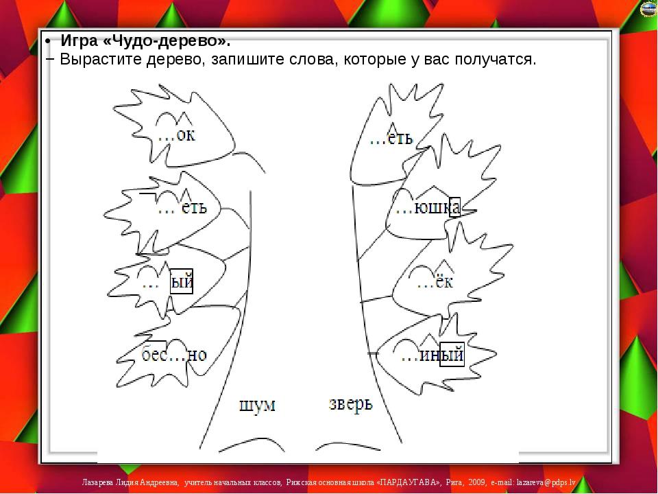 • Игра «Чудо-дерево». − Вырастите дерево, запишите слова, которые у вас получ...