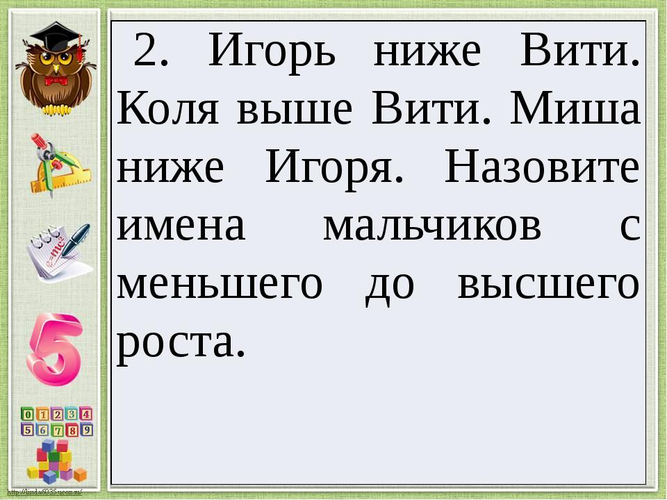 2. Игорь ниже Вити. Коля выше Вити. Миша ниже Игоря. Назовите имена мальчиков...