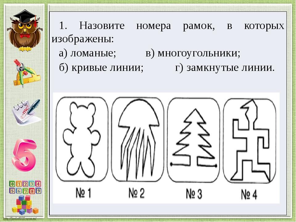 1. Назовитеномера рамок, в которых изображены: а) ломаные; в) многоугольники;...