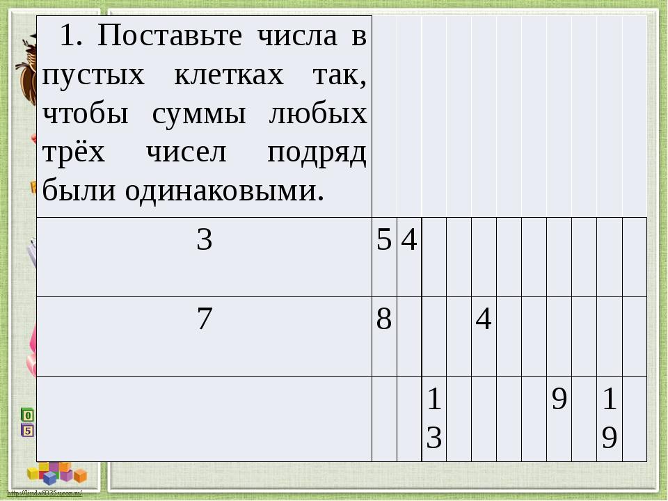 1. Поставьте числа в пустых клетках так, чтобы суммы любых трёх чисел подряд...